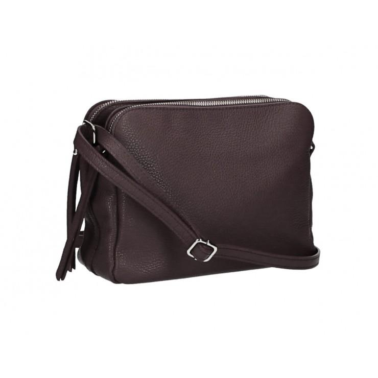 Kožená kabelka na rameno 517 tmavohnedá