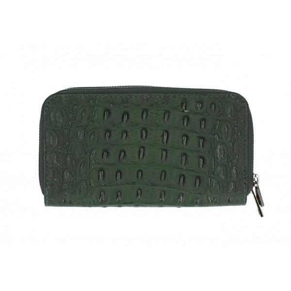 Kožená peňaženka kroko štýl 822 tmavozelená Zelená