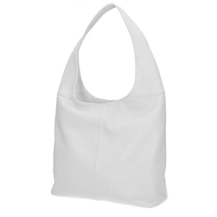 Biela kožená kabelka na rameno 590 MADE IN ITALY