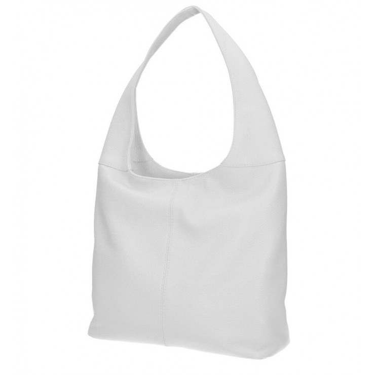 Leather shoulder bag 590 white MADE IN ITALY