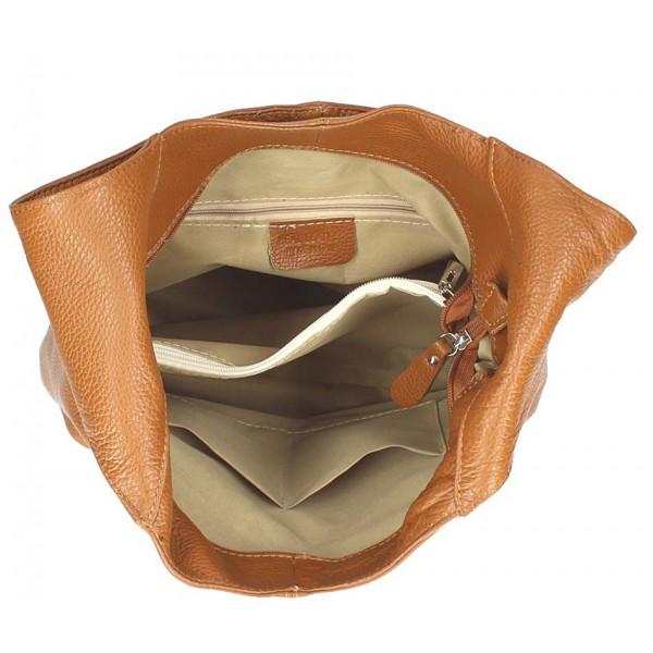 Koňaková kožená kabelka na rameno 590 MADE IN ITALY Koňak