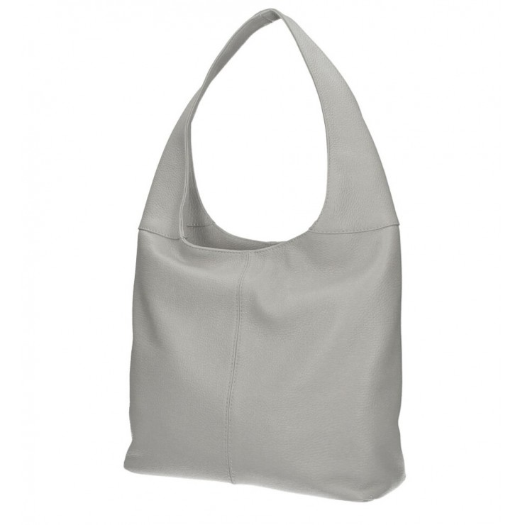 Leather shoulder bag 590 gray MADE IN ITALY