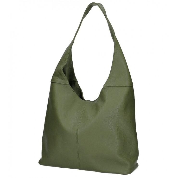 Vojensky zelená kožená kabelka na rameno 590 MADE IN ITALY