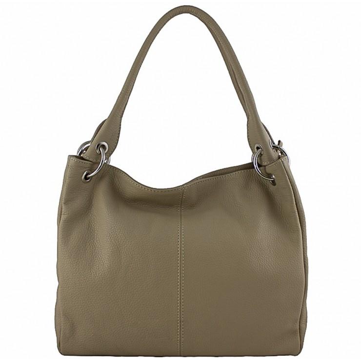 Leather shoulder bag 1107 dark taupe