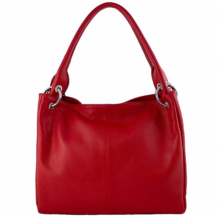 Leather shoulder bag 1107 red