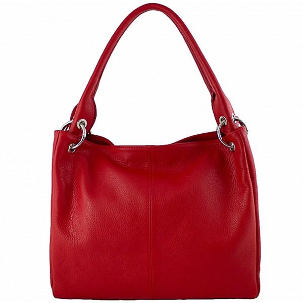 Dámska kožená kabelka 1107 červená