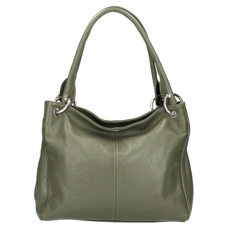 Dámska kožená kabelka 1107 vojensky zelená
