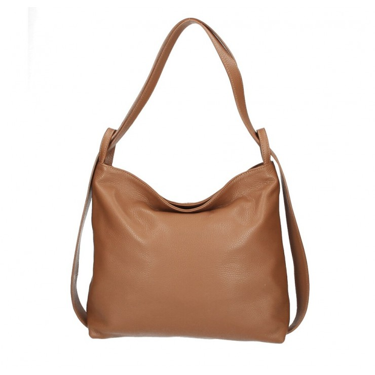 Leather shoulder bag 579 cognac Made in Italy