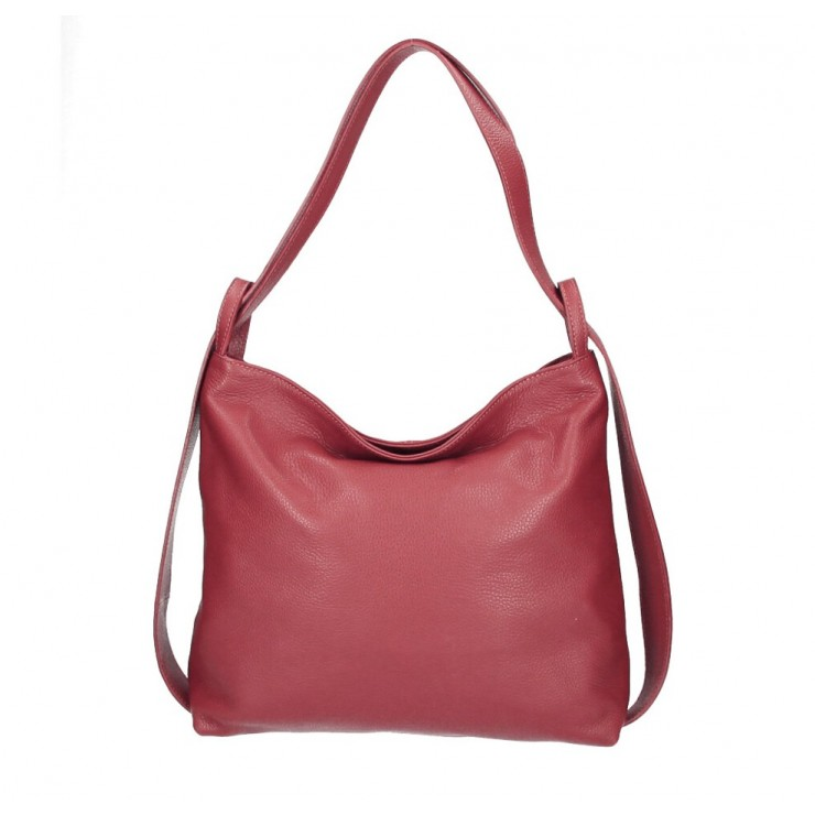 Leather shoulder bag 579 red Made in Italy