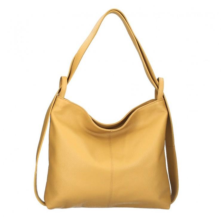 Kožená kabelka na rameno 579 okrová Made in Italy