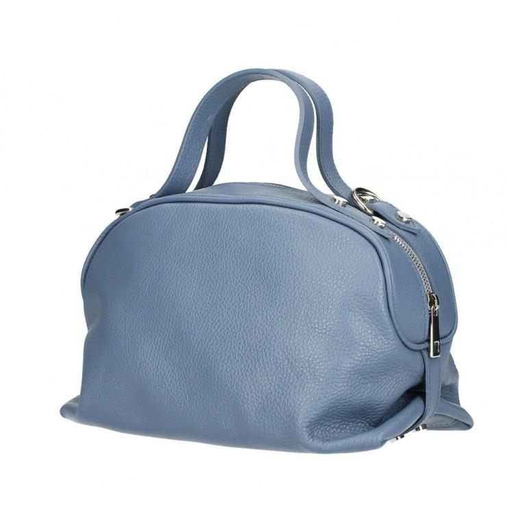 Genuine Leather Handbag 592 azure blue Made in Italy