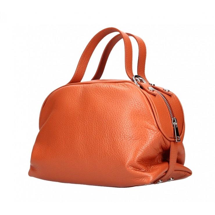 Genuine Leather Handbag 592 papaya Made in Italy