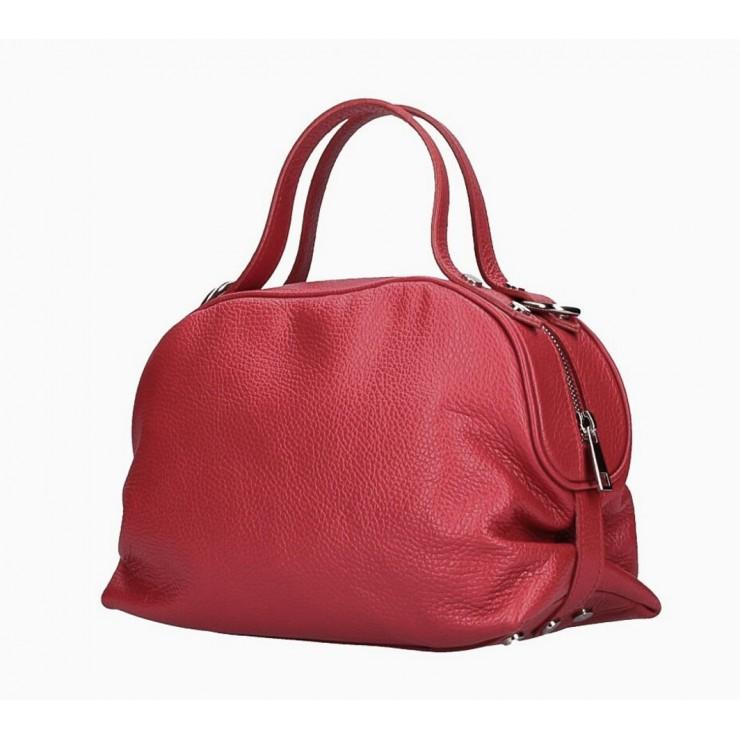 Genuine Leather Handbag 592 dark red Made in Italy