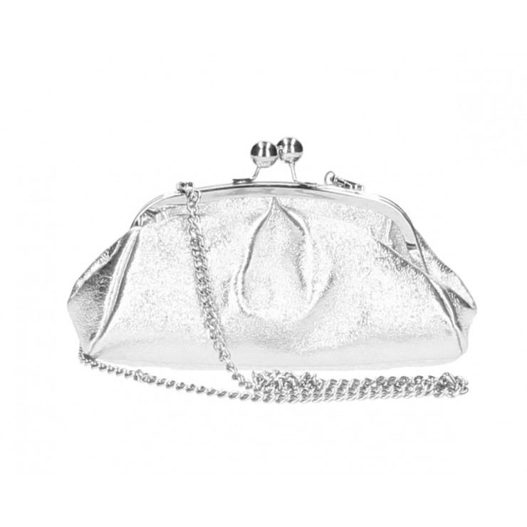 Clutch Bag with chain MI89 silver Made in Italy