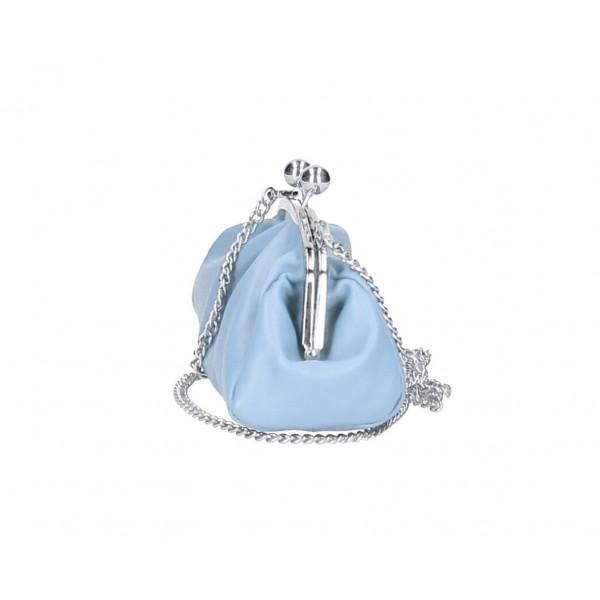 Kožená kabelka MI89 modrá Made in Italy Modrá
