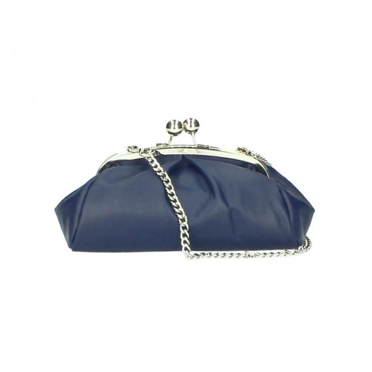 Kožená kabelka MI89 modrá Made in Italy