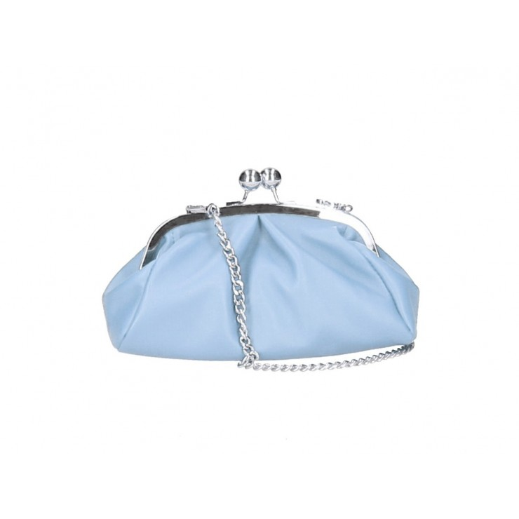 Clutch Bag with chain MI89 light blue Made in Italy