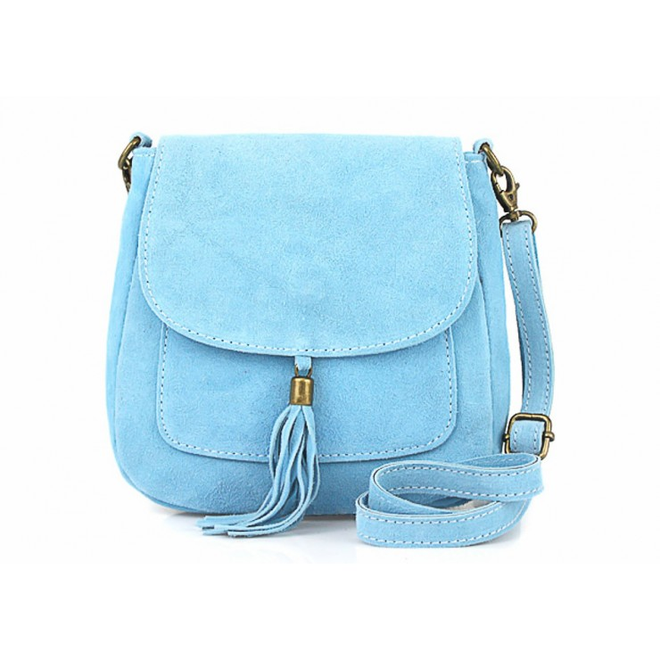 Genuine Leather Handbag 1147 light blue