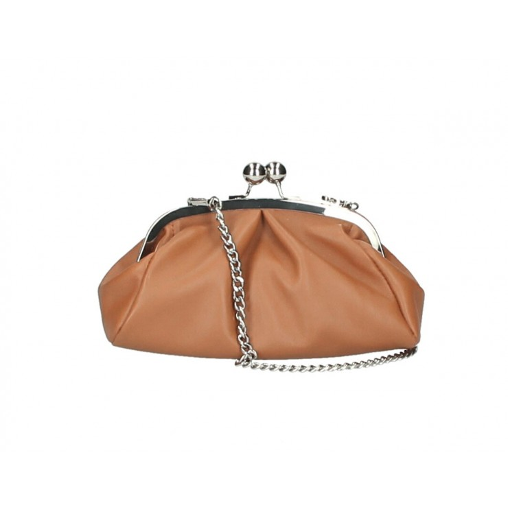 Clutch Bag with chain MI89 cognac Made in Italy