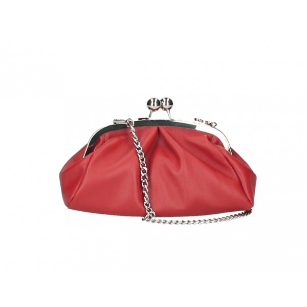 Kožená kabelka MI89 červená Made in Italy Červená