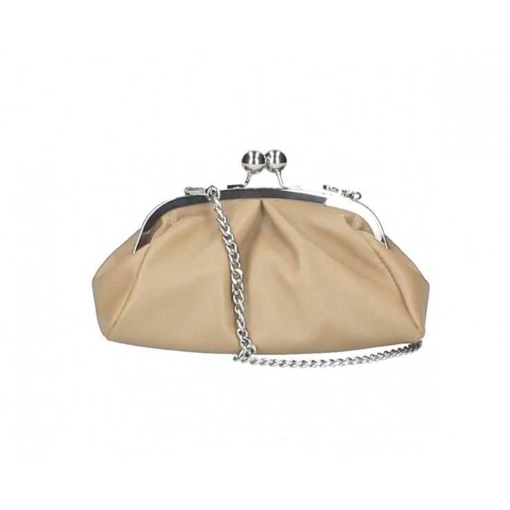 Kožená kabelka MI89 šedohnedá Made in Italy