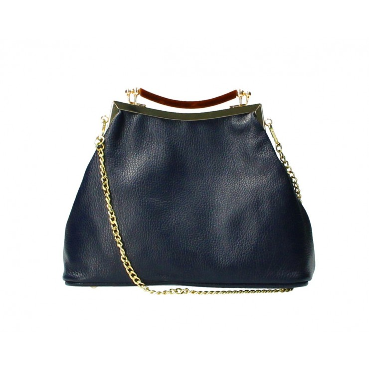 Clutch Bag with chain MI91 dark blue Made in Italy