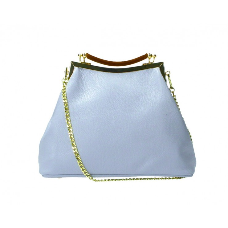 Clutch Bag with chain MI91 light blue Made in Italy