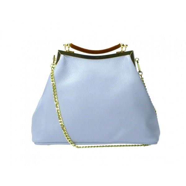 Kožená kabelka MI91 nebesky modrá Made in Italy Nebesky modrá