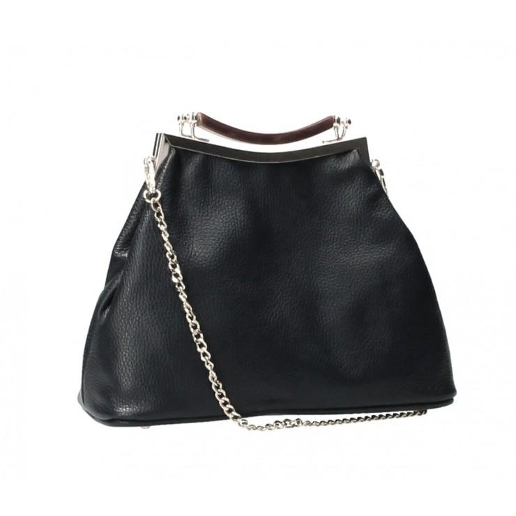 Kožená kabelka MI91 čierna Made in Italy