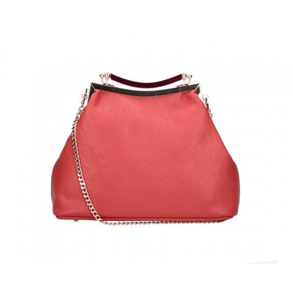 Kožená kabelka MI91 červená Made in Italy Červená
