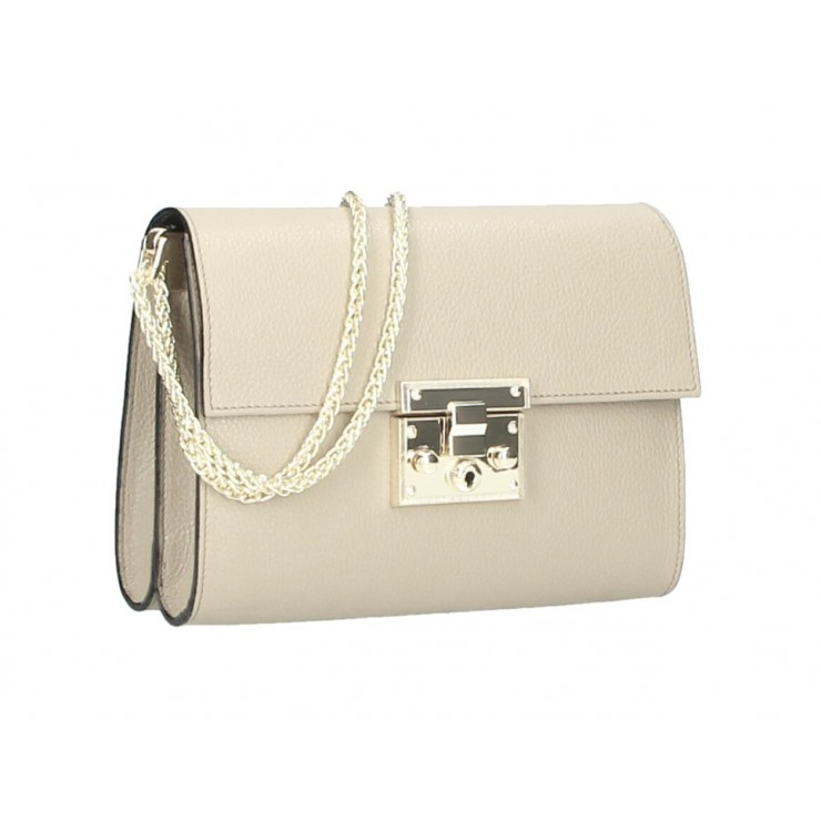 Genuine Leather Shoulder Bag MI94 beige Made in Italy