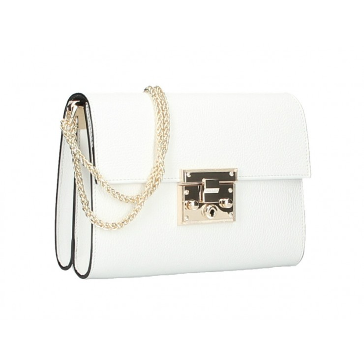 Genuine Leather Shoulder Bag MI94 white Made in Italy