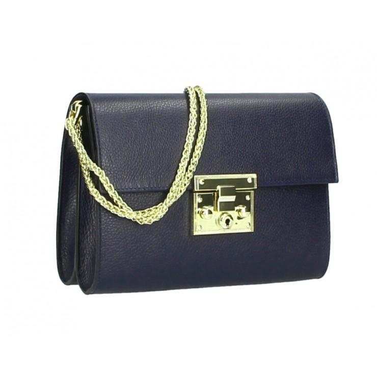 Genuine Leather Shoulder Bag MI94 dark blue Made in Italy