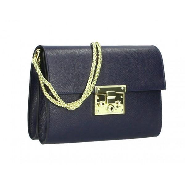 Kožená kabelka MI94 tmavomodrá Made in Italy Modrá
