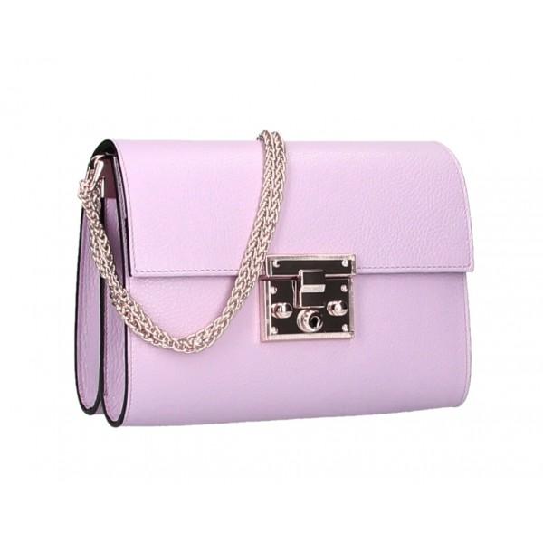 Kožená kabelka MI94 fialová Made in Italy Fialová