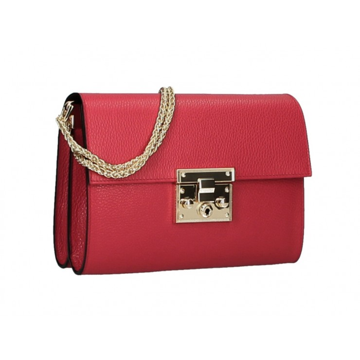 Genuine Leather Shoulder Bag MI94 red Made in Italy
