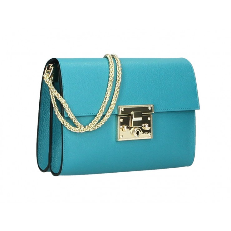 Genuine Leather Shoulder Bag MI94 turquoise Made in Italy