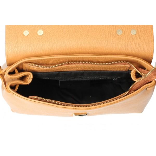 Kožená kabelka MI95 béžová Made in Italy Béžová