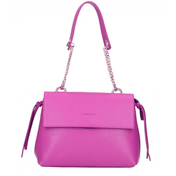 Genuine leather Handbag MI95 fuxia Made in Italy