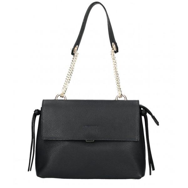 Kožená kabelka MI95 čierna Made in Italy Čierna