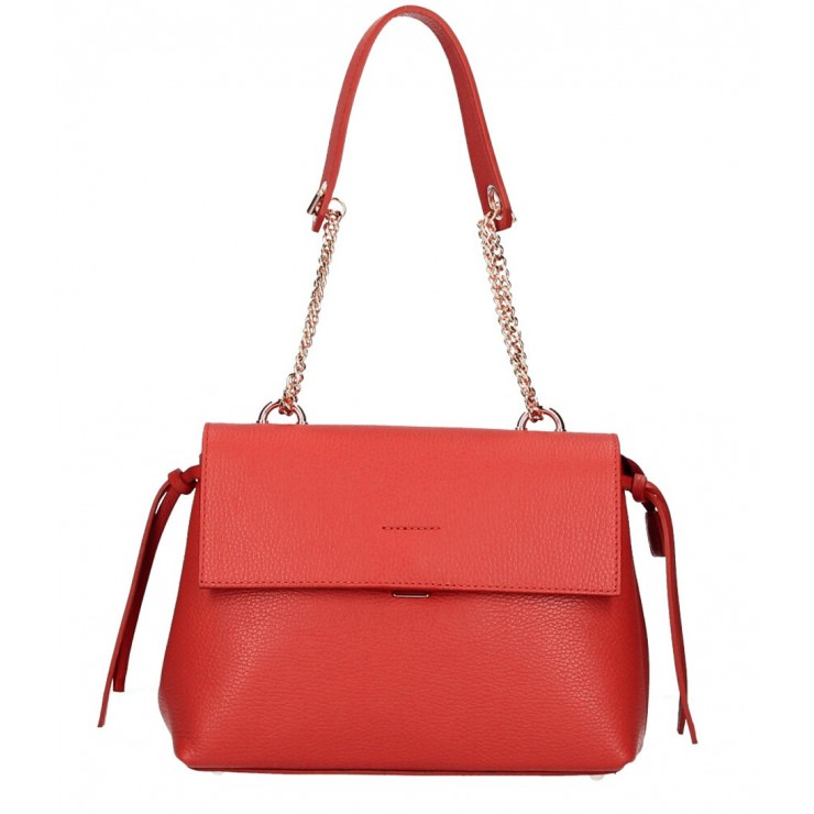 Genuine leather Handbag MI95 red Made in Italy