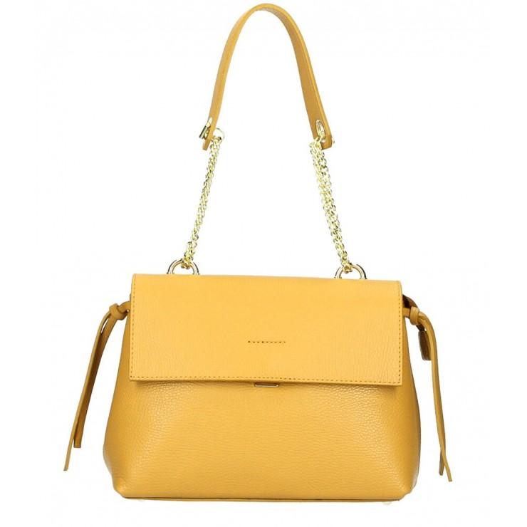 Genuine leather Handbag MI95 mustard Made in Italy