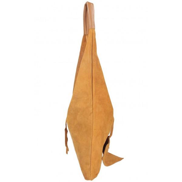 Hnedá kožená kabelka na rameno v úprave semiš 184 Hnedá