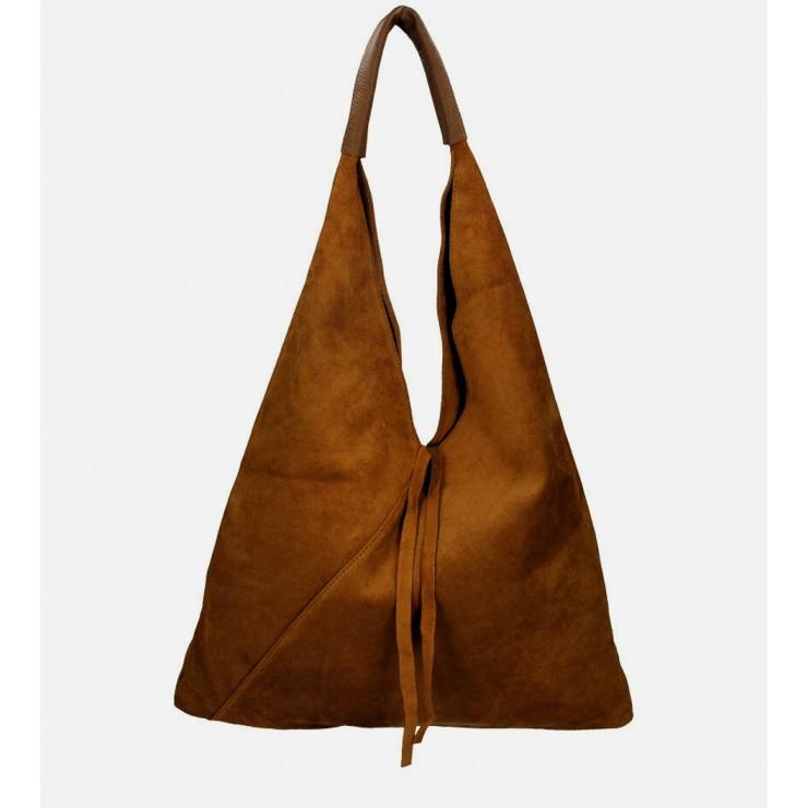 Hnedá kožená kabelka na rameno v úprave semiš 184