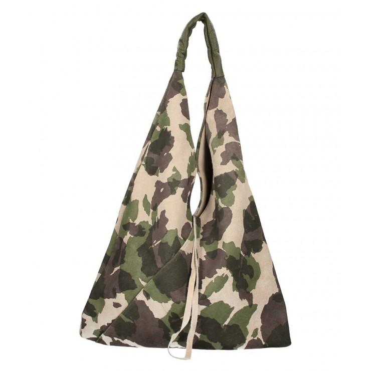 Viacfarebná kožená kabelka na rameno v úprave semiš 184