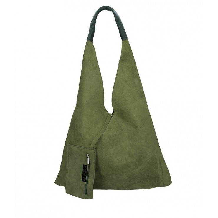 Genuine Leather Maxi Bag 184 military green