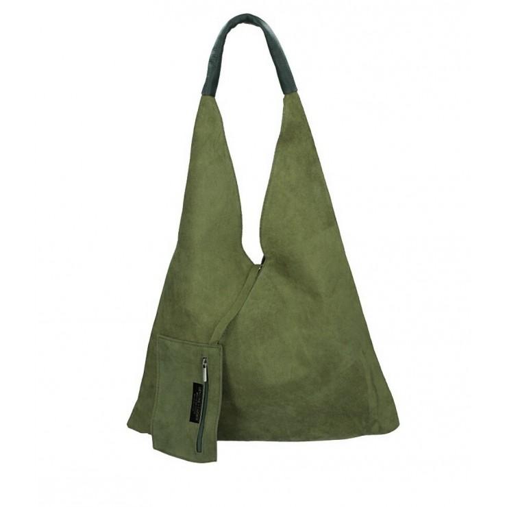 Vojensky zelená kožená kabelka na rameno v úprave semiš 184