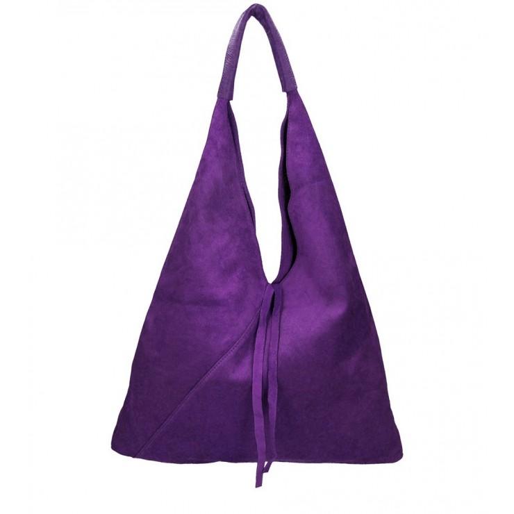Fialová kožená kabelka na rameno v úprave semiš 184