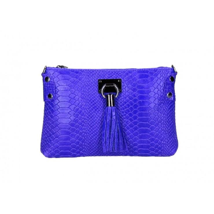 Kožená kabelka MI42 azurovo modrá Made in Italy