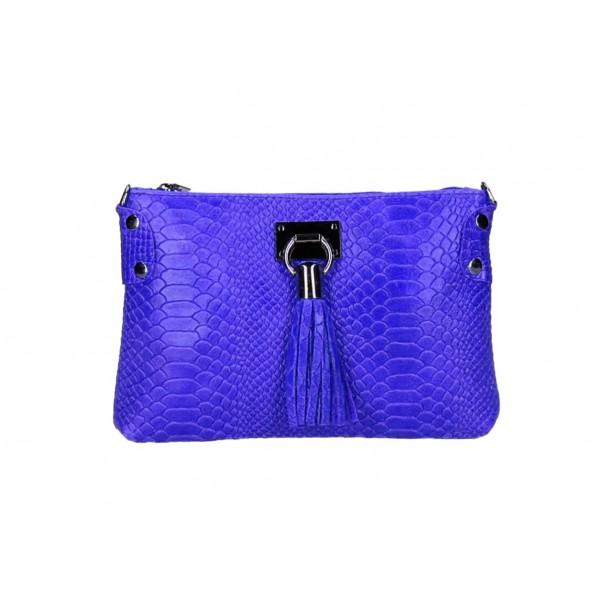 Kožená kabelka MI42 azurovo modrá Made in Italy Modrá